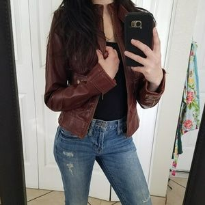 Brown moto faux leather jacket